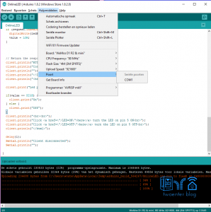 Select the right COM port Arduino IDE ESP8266