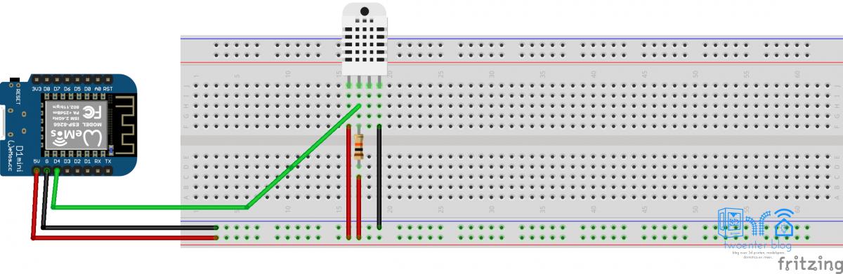 DHT22 aansluiten op een Wemos D1 mini