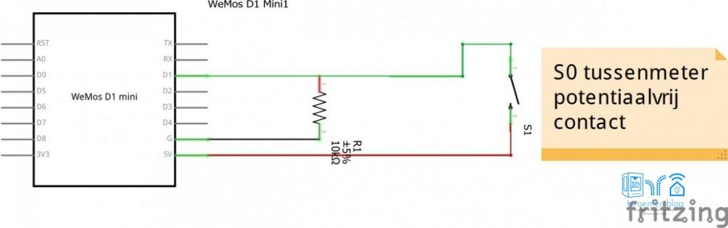 S0 tussenmeter kabel aansluiten op Domoticz en ESP8266