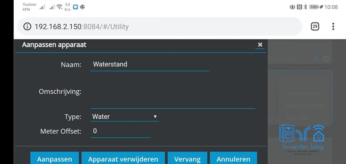 Bepaal het hier het type van de counter incremental. m³ water, gas, kwh...