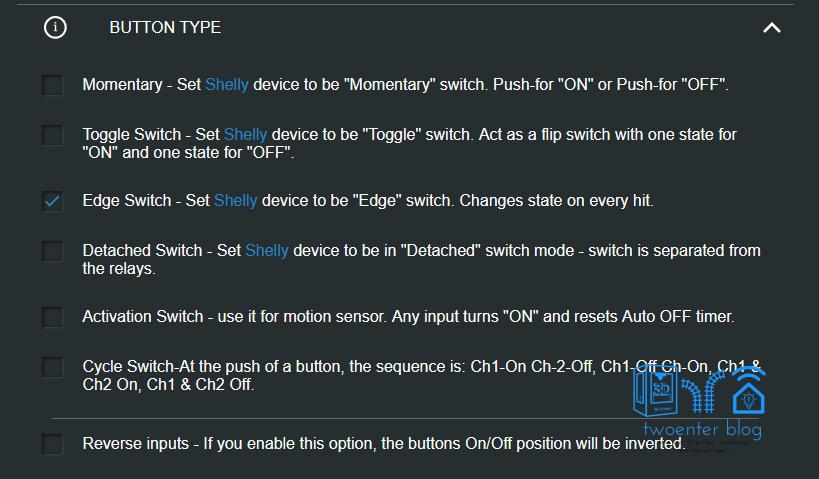 Het type knoppen dat aangesloten is op channel 1 instellen op de Shelly 2.5