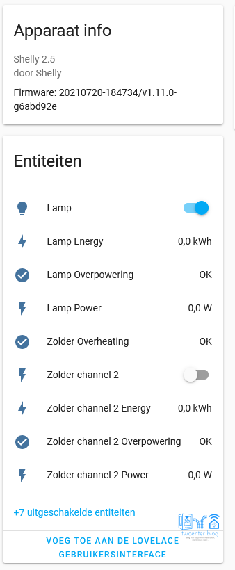 Alle entiteiten van Shelly 2.5 in Home Assistant